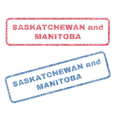 saskatchewan and manitoba textile stamps vector image