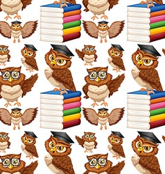 Seamless background with owl and books vector