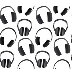Seamless texture with flat headphones on a white vector