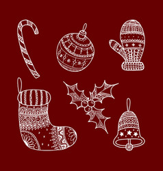 set of christmas decorative symbols vector image