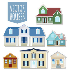 set of cottage houses vector image