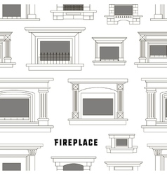 Set of fireplace icons design pattern vector image vector image