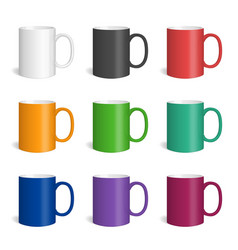 set of realistic colored mugs vector image