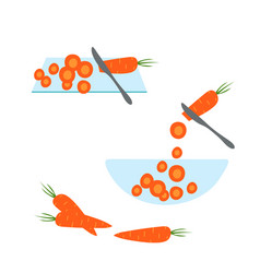 slicing carrot by knife hand drawn flat design vector image