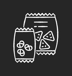 snacks chalk white icon on black background vector image