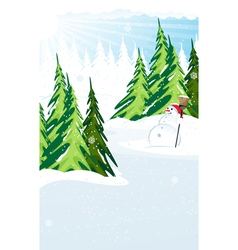 Snowman in a snow covered pine forest vector