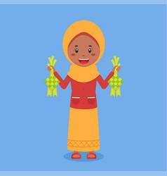 Stock muslim character hold ketupat vector