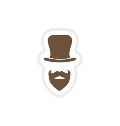 stylish paper sticker on white background hat vector image
