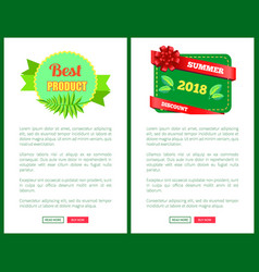 Summer discount 2018 sale flyers set push buttons vector