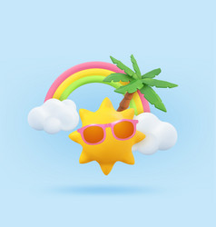 Summer vacation realistic design template 3d vector