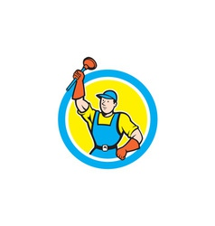 Super Plumber With Plunger Circle Cartoon vector image