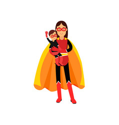 superhero woman in orange cape with kid in her vector image