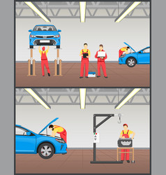 Suspended car on stand and engine service banner vector