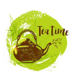 Teapot and bamboo branch vector