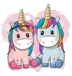 Two cute unicorns on a heart background vector