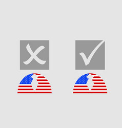 usa flag textured person icon with vote mark vector image