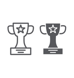 winner cup line and glyph icon champion and vector image