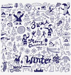 Winter holidays - doodle set vector