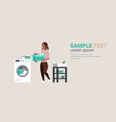 woman with clothes basket standing near washing vector image