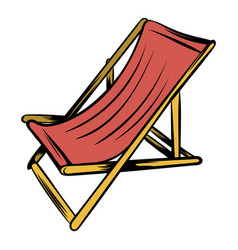Wooden beach chaise icon cartoon vector