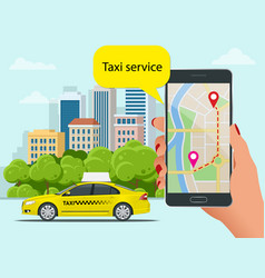 Yellow taxi cab and mobile application in phone vector