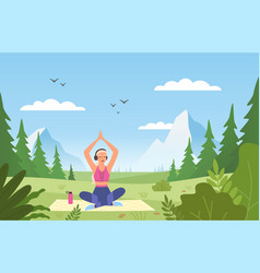 yoga in nature athletic slim female character vector image