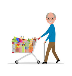 cartoon old man with a shopping trolley vector image vector image