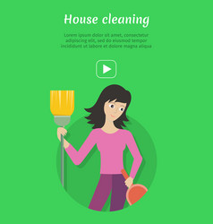 cleaning service ad card banner poster fier vector image vector image