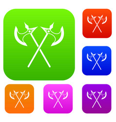 crossed battle axes set collection vector image vector image