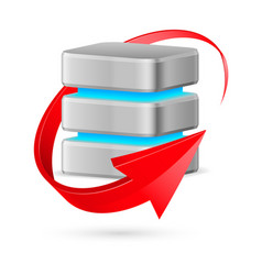 database icon with update symbol - red curved vector image vector image