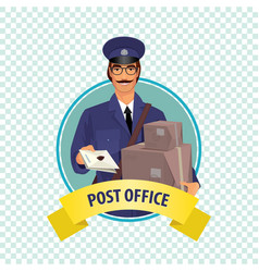round icon on white background with postman vector image