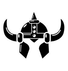 viking helmet knight icon simple black style vector image vector image