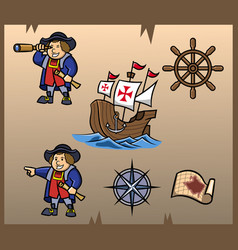 columbus day element graphic vector image