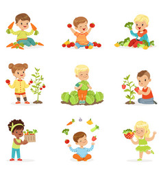 little children having fun and playing with vector image