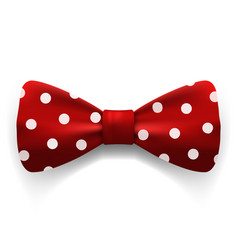 Red polka dot bow tie isolated on white vector