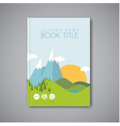 Book cover design template with flat landscape vector