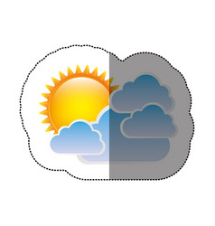 color sticker sun with clouds icon vector image