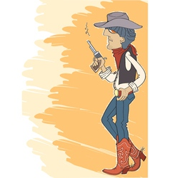 Cowboy in hat with gun vector image vector image