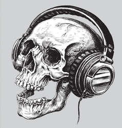 Hand drawn sketchy skull with headphones vector image vector image