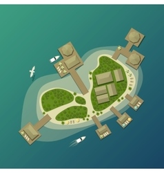 Island top view with tourist beach and umbrella vector image