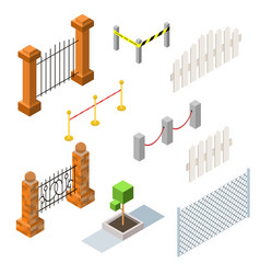 set of isometric fences and hedges vector image