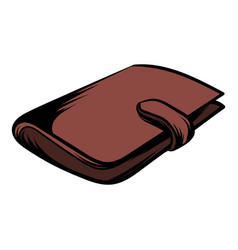 brown wallet with card and cash icon cartoon vector image vector image