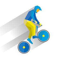 cycling bmx cartoon cyclist jump on bike vector image vector image