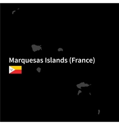 Detailed map of Marquesas Islands with flag on vector image vector image