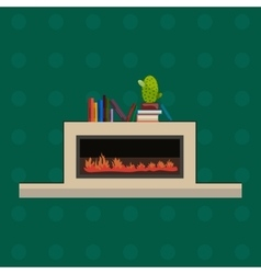 fire in fireplace flat vector image