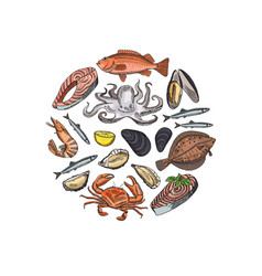 hand drawn seafood elements in form of vector image
