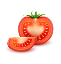 Ripe red fresh cut tomato close up isolated vector
