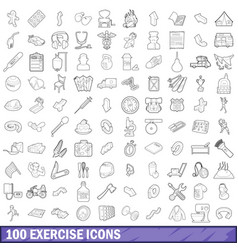 100 exercise icons set outline style vector image