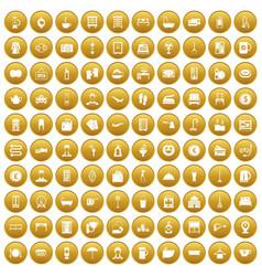 100 inn icons set gold vector