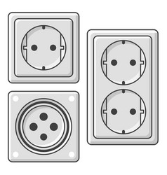 A set of sockets on white vector